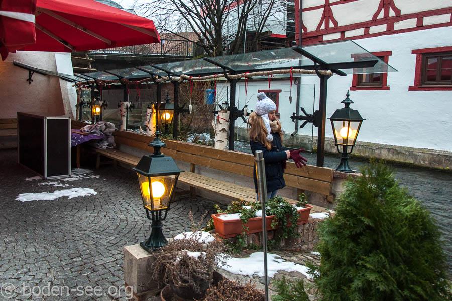 дворик ресторана Lochmühle в Ульме