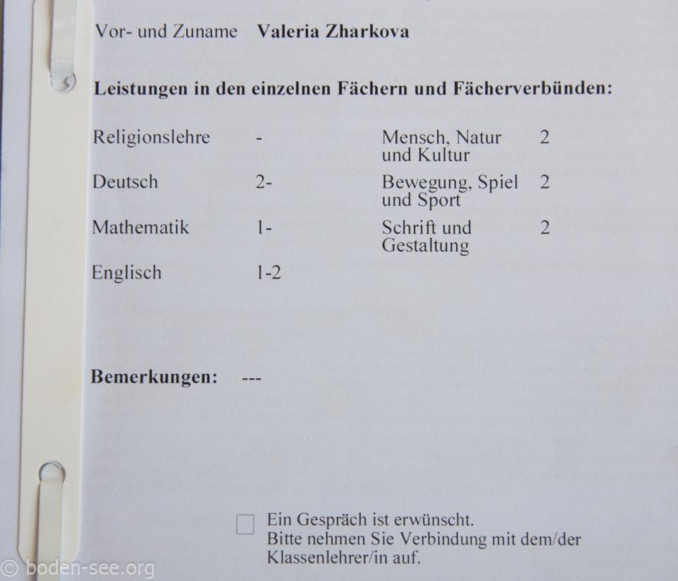 оценки в немецкой школе