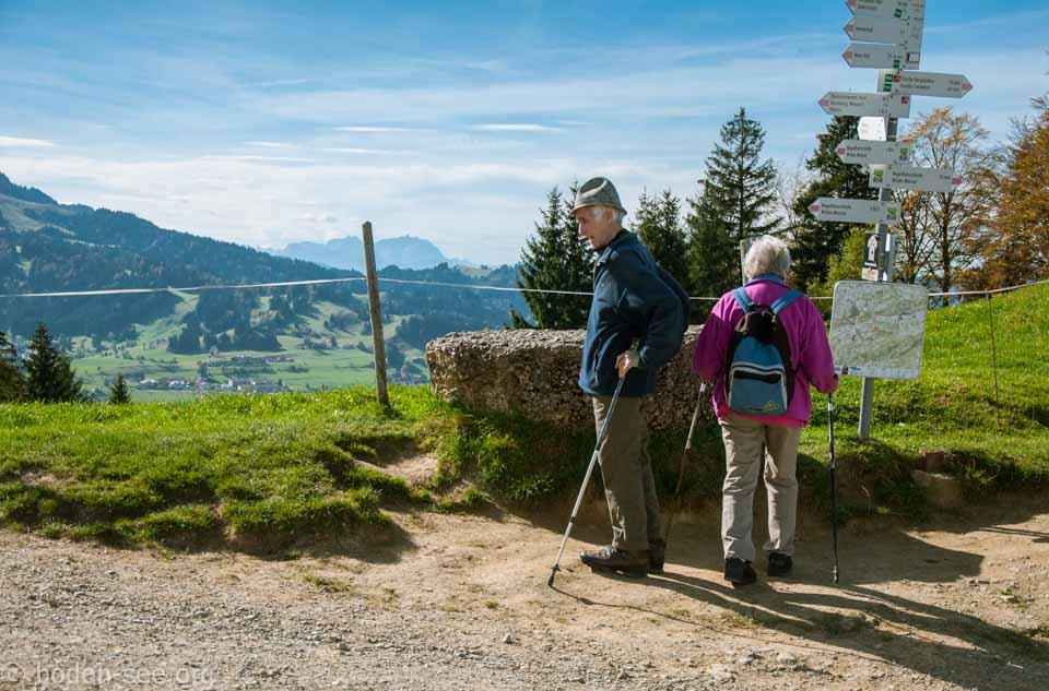 пожилые люди гуляют в альпах