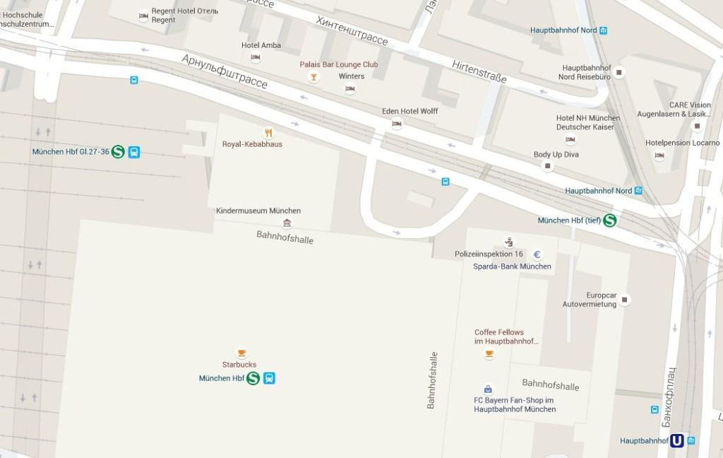 карта жд вокзала мюнхен