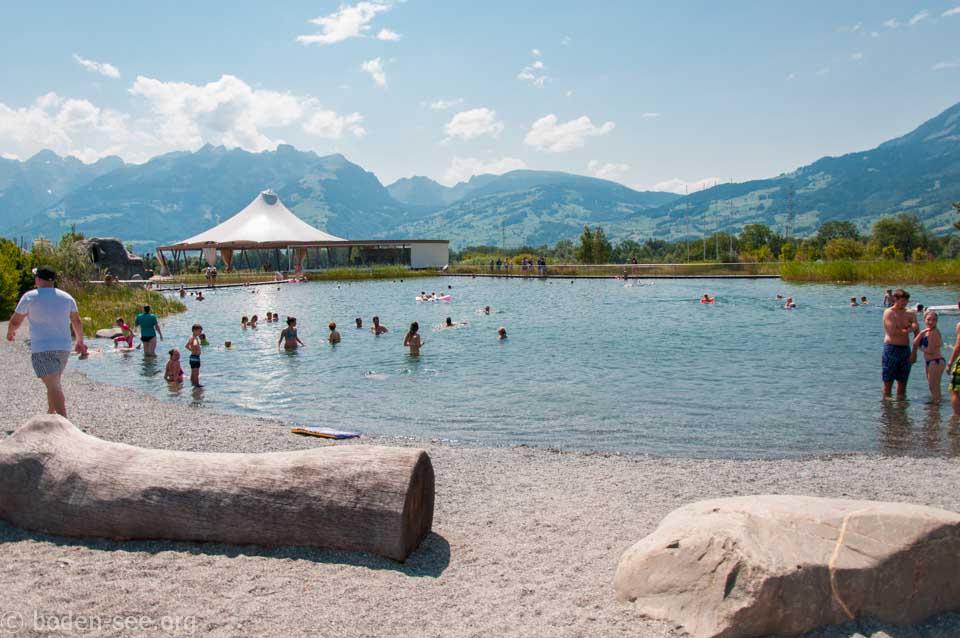 вид на озеро Badesee, Лихтенштейн