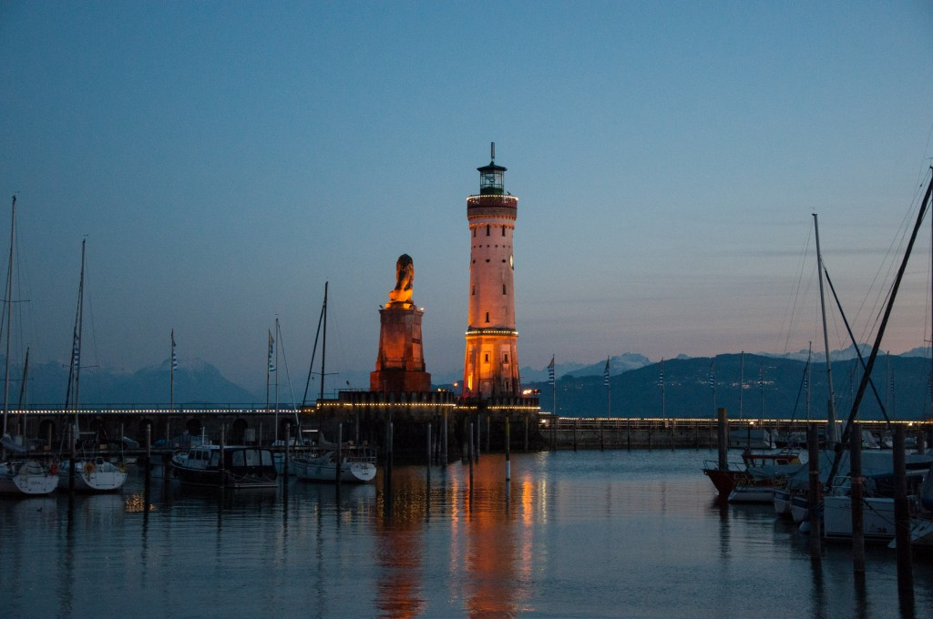 Lindau lighthouse and bavarian lion sunset
